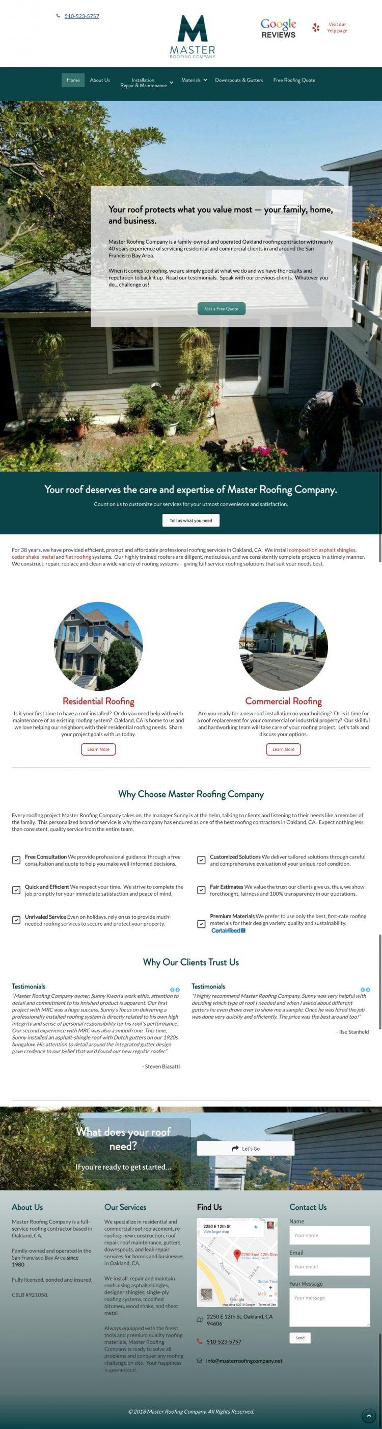 Master Roofing Company homepage screenshot